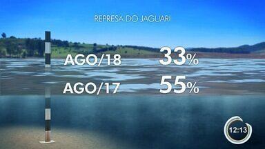 Nível da represa do Jaguari é o menor registrado neste ano - Represa integra a bacia do Rio Paraíba do Sul.
