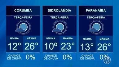 Confira a previsão do tempo para essa terça-feira (4) - Previsão de 10º para Campo Grande.