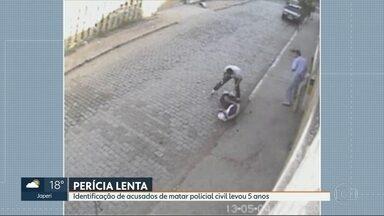Polícia prende acusados de matar policial civil em 2013 - Bandidos foram identificados pelas impressões digitais. Perícia conclusiva ficou pronta há dois meses. Polícia diz que sistema do detran foi atualizada permitendo a identificação.