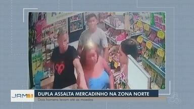Armados, homens rendem clientes e funcionários em assalto a comércio - Crime ocorreu no Conjunto Vila Nova, bairro Cidade de Deus.