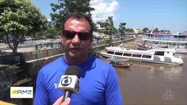 Vazante do Rio Amazonas revela sujeira na orla de Parintins - Concentração de lixo é alta às margens do rio.