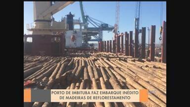 Porto de Imbituba faz embarque inédito de madeiras de reflorestamento - Porto de Imbituba faz embarque inédito de madeiras de reflorestamento