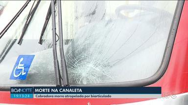 Cobradora de ônibus morre atropelada por biarticulado - Acidente foi no bairro Cajuru, em Curitiba.