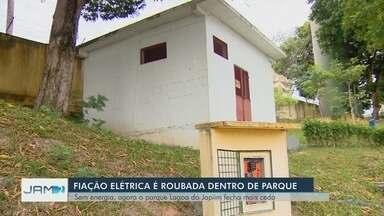Assaltantes furtam parque em Manaus e levam fiação pela 4ª vez este ano - Ação comprometeu o fornecimento de energia para o prédio da administração e a iluminação da pista de caminhada do local.