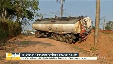 Criminosos roubam nafta de duto da Petrobras na região de Suzano - Caminhão usado para transportar produto quebrou e foi abandonado pelos bandidos na cidade da Grande São Paulo.
