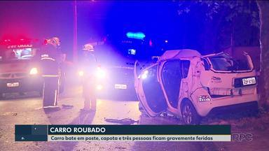 Acidente deixa 3 pessoas gravemente feridas - A batida envolveu um carro roubado.