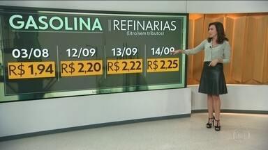 Preço da gasolina nas refinarias da Petrobras sobe novamente - O valor do litro da gasolina foi reajustado para R$ 2,25, sem tributos. No início de agosto o litro cistava R$ 1,94. De lá pra cá os reajustes acumulados já somam mais de trinta centavos. E estes valores não levam em conta impostos e margem de lucro