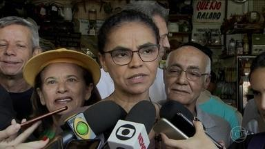 Candidata da Rede, Marina Silva, faz campanha no Distrito Federal - Jornal Nacional mostra como foram as atividades de campanha de candidatos à presidência nesta sexta-feira (14).