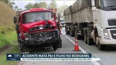Pai e filho morrem em acidente no Rodoanel - Um caminhão bateu numa carreta e em seguida atingiu o carro onde as vítimas estavam.