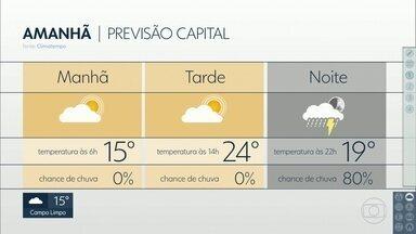 Previsão para domingo é de tempo firme durante o dia - Pode chover à noite por causa de áreas de instabilidade.