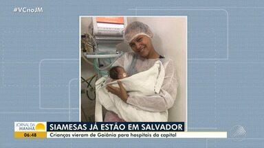 Irmãs siamesas retornam à Salvador depois de cirurgia em Goiânia - As crianças chegaram na madrugada de domingo (16) e foram para o Hospital Ana Nery, bairro de Nazaré.