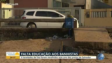 Banhistas deixam as praias cheias de lixo durante o fim de semana - Segundo a Limpurb, de janeiro a junho deste ano, mais de seis toneladas de lixo foram recolhidas nas praias de Salvador.