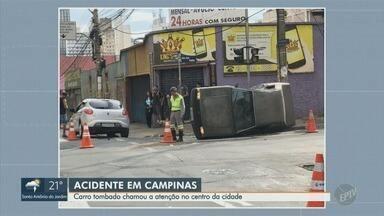 Batida em cruzamento deixa carro tombado na região central de Campinas - Motorista de 50 anos sofreu escoriações leves e não precisou de atendimento médico.