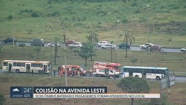 Semana começa com acidentes no trânsito do DF - Batida entre dois ônibus na Avenida Leste, em Samambaia, deixa passageiros feridos, 12 deles levados para hospitais da região.