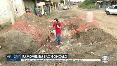 O RJ Móvel foi a São Gonçalo, nessa segunda-feira - Moradores da Estrada do Malafaia querem asfalto pra via. A obra de drenagem já está quase pronta