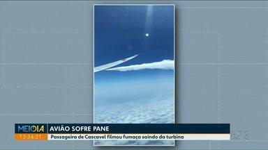 Moradora de Cascavel filma fumaça saindo da turbina de avião - Ela retornava da Espanha quando tudo aconteceu.