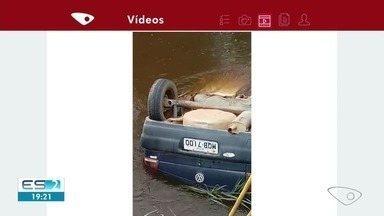 Corpo é encontrado em carro dentro do rio Araçatiba, em Viana, ES - Polícia Militar foi chamada e se deslocou até o local, onde confirmou a ocorrência. A perícia da Polícia Civil foi acionada.