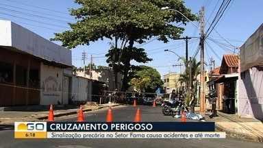 Moradores reclamam de sinalização em cruzamento onde acidentes são frequentes, em Goiânia - Colisões já deixaram vítimas fatais no local.