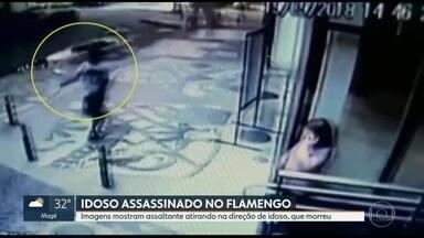 Imagens de câmeras de segurança mostram idoso sendo morto durante assalto a loja - Assalto aconteceu na tarde de quarta-feira, à tarde. Nelson Misachio, de 79 anos, foi baleado quando voltava do mercado.