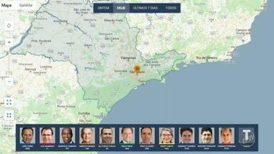 Confira agenda dos candidatos ao governo do estado nesta quinta-feira - Mapa mostra onde candidatos fizeram campanha na manhã desta quinta-feira (20).