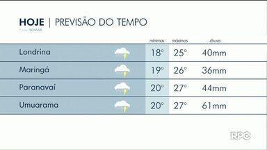 Chuva continua intensa na região de Maringá - Pancadas de chuva ainda são previstas para amanhã (20).