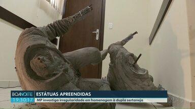 Estátuas de Chitãozinho e Xororó são apreendidas no norte do Paraná - Licitação das estátuas está sendo investigada pelo Ministério Público.