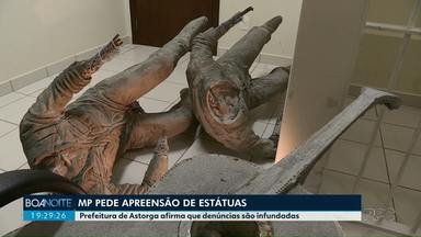 Estátuas de dupla sertaneja são apreendidas pelo Ministério Público em Astorga - O Ministério Público suspeita de irregularidades na contratação do serviço.