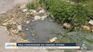 Fala Comunidade: Moradores reclamam da falta de tampa de bueiros no bairro Grande Vitória - Problema na rede de drenagem está afetando população.