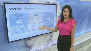 Veja a previsão do tempo em Campinas e região para esta quinta-feira (27) - Dia pode ter pancadas de chuva. Em Campinas, as máximas atingem os 31°C.