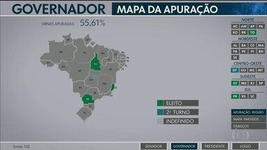 Mapa da Apuração mostra governadores e senadores que já estão eleitos por estado - Tocantins, Espírito Santo e Paraná têm governadores eleitos. Em Brasília, Mato Grosso do Sul e Rio Grande do Sul 2º turno já está definido. Senadores foram eleitos no Tocantins e no Espírito Santo.