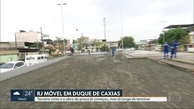 O RJ Móvel dessa terça-feira foi em Duque de Caxias - Os moradores querem a rev italização da praça do Bairro Laguna e Dourado. A Obra já começou.