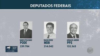 Deputados federais reeleitos na região de Ribeirão Preto comentam expectativas - Baleia Rossi (MDB), Arnaldo Jardim (PPS) e Marcos Feliciano (Podemos) foram os mais votados.