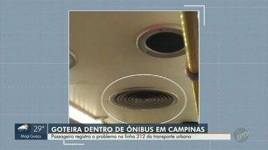 Passageiro registra ônibus andando com goteira, em Campinas - Problema ocorreu na linha 212 do transporte urbano.