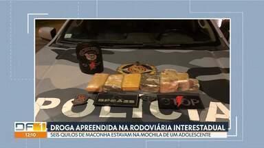 PM apreende maconha em mochila na Rodoviária Interestadual - Policiais foram ao local depois de uma denúncia anônima. A droga estava na mochila de um adolescente de 17 anos, que já tinha passagens pela polícia. Ele estava ia para Barreiras, na Bahia.