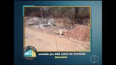 VC no MG: Moradores de Montes Claros, Curvelo e Januária enviam denúncias - Em Januária, moradores reclamam do acúmulo de lixo em rua.