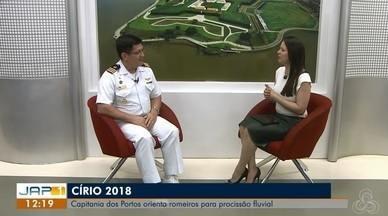 Entrevista: Começa nesta semana as romarias do Círio de Nazaré, no AP - Capitão Fernando Cezar da marinha orienta romeiros para procissão fluvial