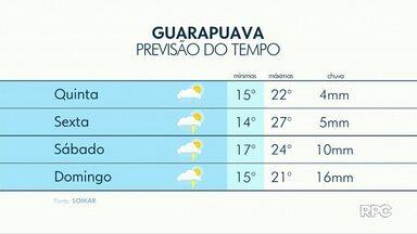 A previsão é de chuva para esta quinta-feira em Guarapuava - O sol deve aparecer entre nuvens com poucos acumulados.