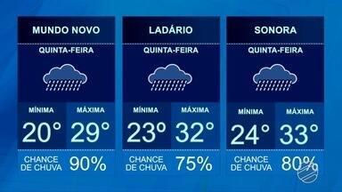 Confira a previsão do tempo para essa quinta-feira (11) - Previsão de chuva em todas as regiões do estado.