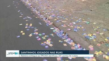 Prefeitura de Manaus entrega relatório sobre gastos e sujeira após 1º turno das eleições - Segundo relatório entregue ao TRE-AM, santinhos foram espalhados por 181 pontos de Manaus.