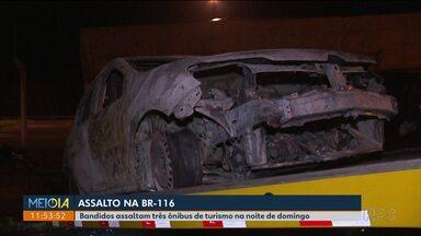 Bandidos assaltam três ônibus de turismo na BR-116 - Foi ontem (21) à noite em Campina Grande do Sul.