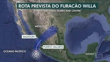 Furacão Willa chega ao México com ventos de mais de 200 km/h - O furacão foi classificado como categoria 4, numa escala que vai até 5. Ele vai atingir uma região turística do México na costa do Pacífico.