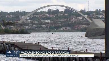 Barreira de contenção de óleo no Lago Paranoá será retirada após avaliações ambientais - Adasa informou que vazamento de óleo diesel não oferece riscos no Lago Paranoá. Ibram vai verificar a qualidade da água no ponto atingido pelo vazamento
