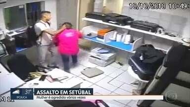 Mulher é agredida durante assalto na Zona Sul do Recife - Câmera registrou a agressividade do ladrão