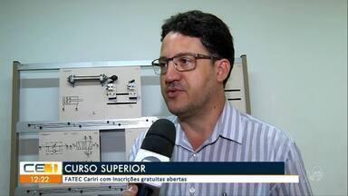 FATEC Cariri abre inscrições gratuitas para cursos superiores - Saiba mais em g1.com.br/ce