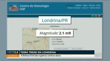 A terra volta a tremer em Londrina - Defesa civil recebeu várias ligações de moradores relatando os tremores.