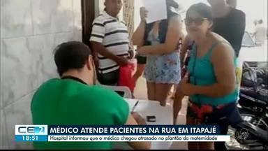 Médico atende pacientes na rua, em Itapajé - Saiba mais em g1.com.br/ce
