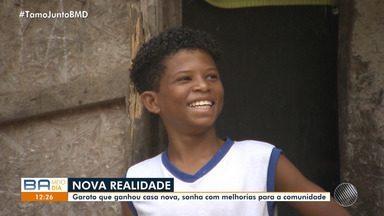 'O Bem Inspira': garoto que ganhou casa nova sonha com melhorias para a comunidade - O BMD trouxe a realidade do menino que com a solidariedade conseguiu vencer as dificuldades.