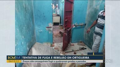 Presos tentam fugir e quebram grades e paredes em Ortigueira - Um policial de quase 60 anos conseguiu conter a fuga.