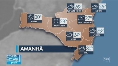Veja como ficará o tempo em todas as regiões de SC nesta terça-feira (30) - Veja como ficará o tempo em todas as regiões de SC nesta terça-feira (30)