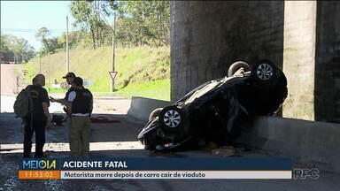Homem morre depois do carro cair de um viaduto na Rodovia do Xisto - O acidente foi em Araucária. Mesmo usando o cinto de segurança a batida foi muito forte
